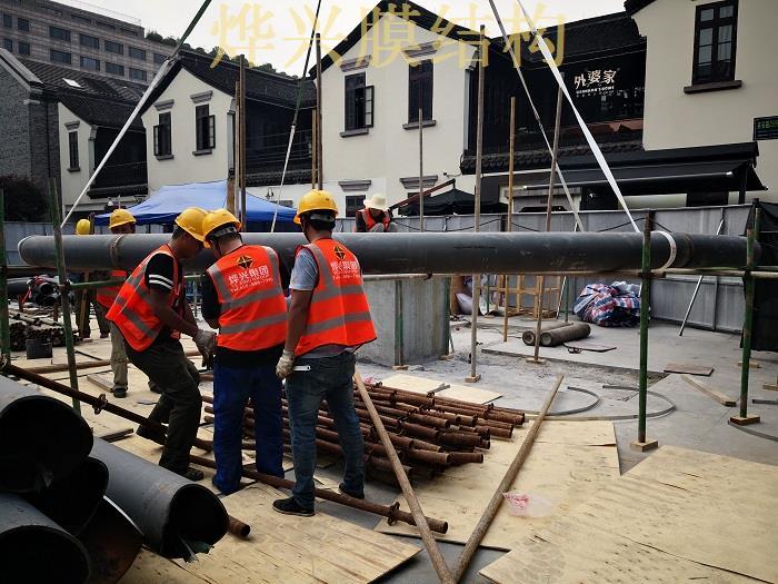 杭州湖滨银泰广场ETFE膜结构雨棚建设近况