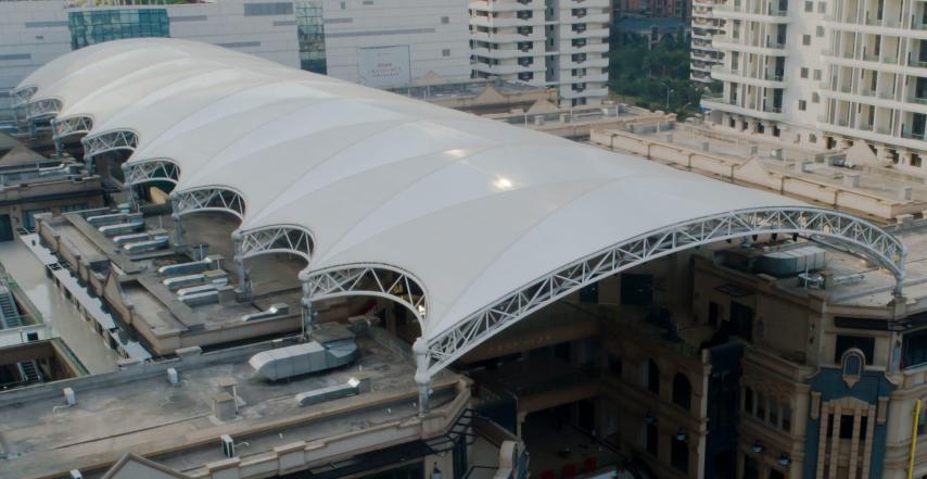 庆贺远大购物广场项目B区3D天幕膜结构工程完美竣工